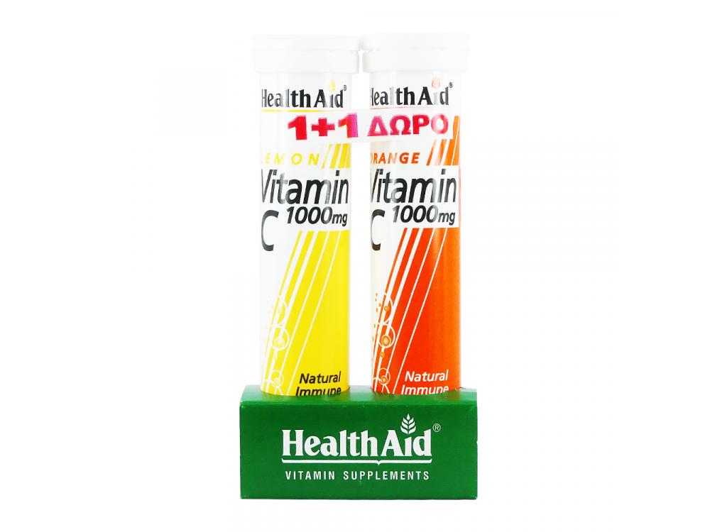 Health Aid Vitamin C 1000mg + Health Aid Vitamin C with Lemon  20+20eff.tabs