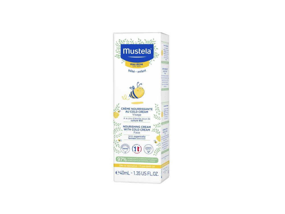 Mustela Bebe Creme Nourrissante au Cold Cream, Κρέμα Ενυδάτωσης Προσώπου για Ξηρό Δέρμα, 40ml