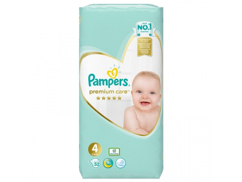 Pampers Premium Care Jumbo Pack No.4 (Maxi) 8-14 kg Βρεφικές Πάνες, 52τμχ