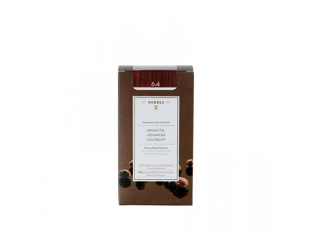Korres Argan Oil Advanced Colorant, 6.4 Ξανθό Σκούρο Χάλκινο,50ml