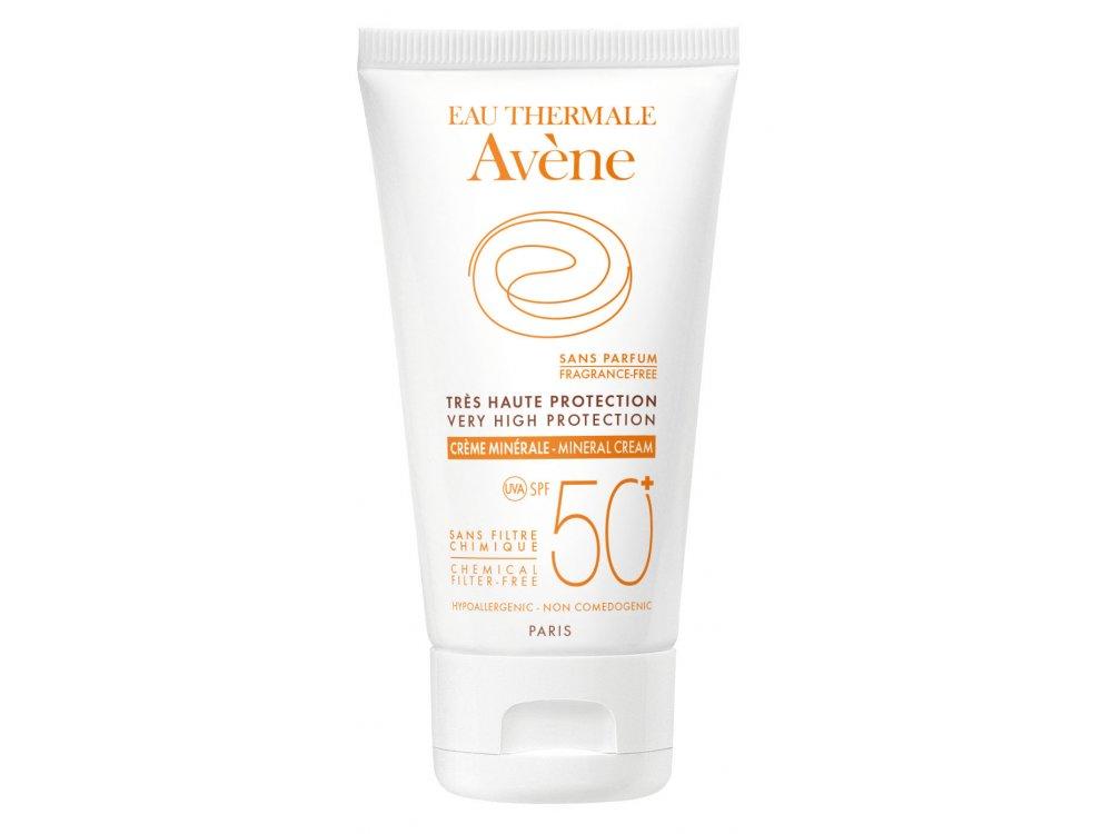 Avene Eau Thermale Creme Minerale SPF50+ Αντιηλιακή Κρέμα Προσώπου για το μη ανεκτικό & ευαισθητοποιημένο δέρμα, χωρίς Άρωμα, 50ml