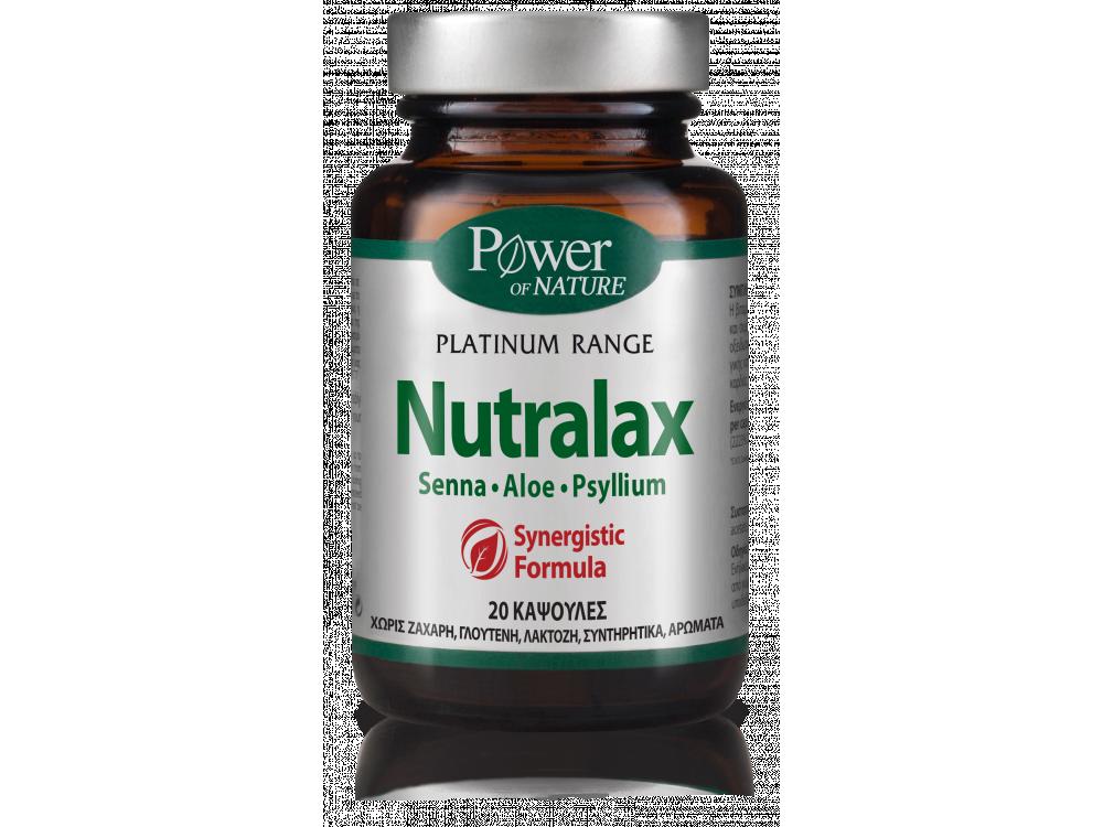 Power Health Platinum Range Nutralax, Συμπλήρωμα Διατροφής για την Ομαλή Λειτουργία του Εντέρου, 20 caps
