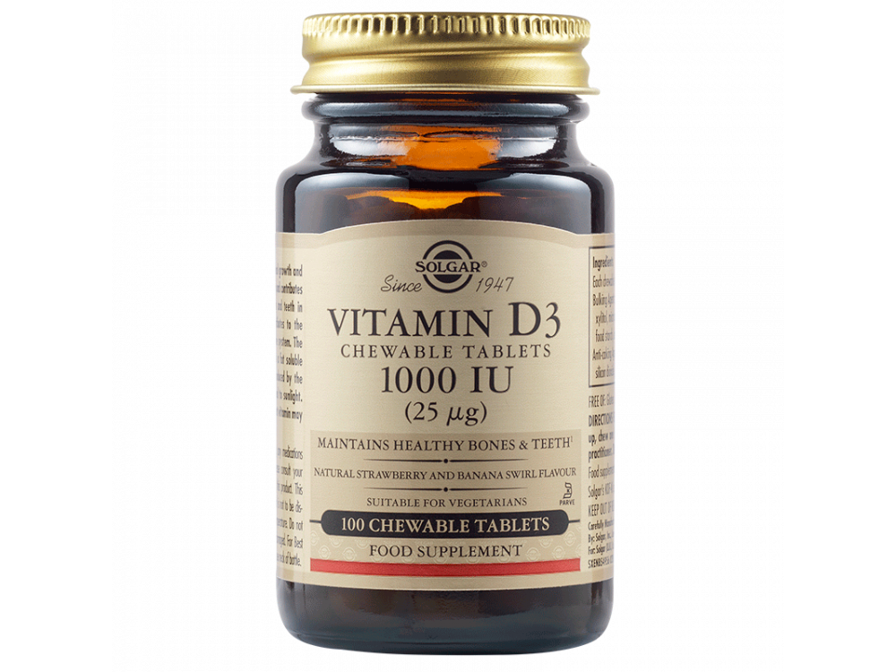 Solgar Vitamin D-3 1000 IU  100 Chewable tabs