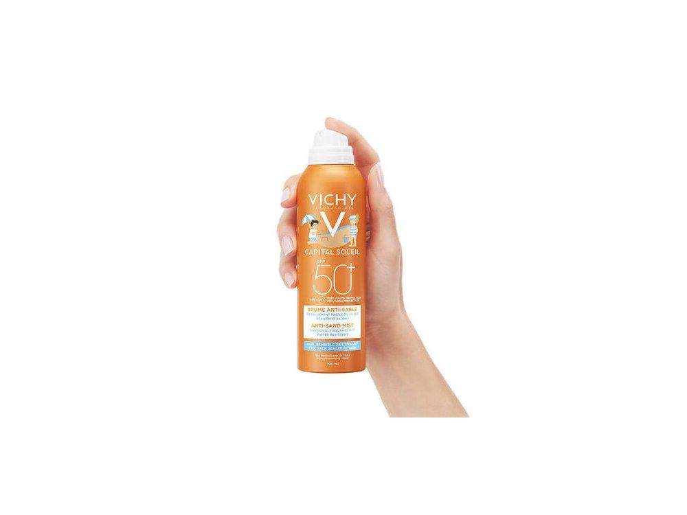 Vichy Ideal Soleil Enfants Spray SPF50+ Παιδικό Αντηλιακό Spray που απομακρύνει την Άμμο από Πρόσωπο & Σώμα, 200ml