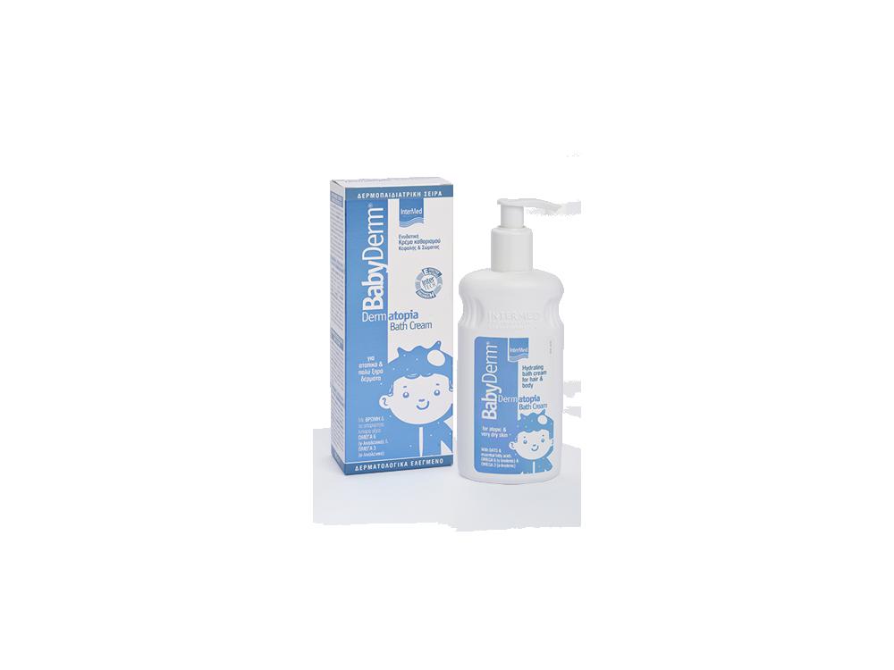 InterMed Babyderm Dermatopia Bath Cream, Ενυδατική Κρέμα καθαρισμού Κεφαλής & Σώματος Παιδική, 300ml