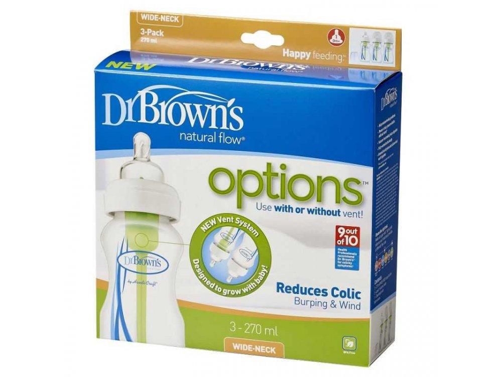 Dr. Brown's Promo Pack Options+, Πλαστικό Μπιμπερό με Φαρδύ Λαιμό, 0m+ 270ml, 3τμχ WB 93005