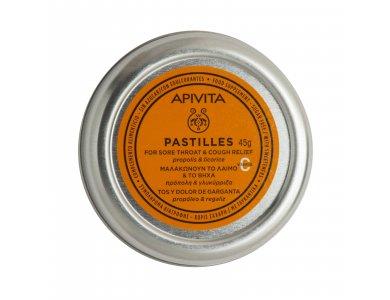 Apivita Pastilles, Παστίλιες για τον Πονεμένο Λαιμό και το Βήχα με Γλυκόριζα & Πρόπολη 45gr