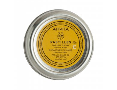 Apivita Pastilles, Παστίλιες για τον πονεμένο λαιμό με μέλι & θυμάρι 45gr