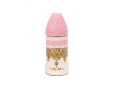 Suavinex Haute Couture Πλαστικό Μπιμπερό, Ροζ-Χρυσό, Θηλή Σιλικόνης 0m+ 270ml