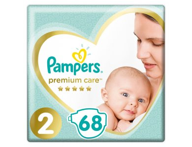 Pampers Premium Care No.2 (4-8kg) Βρεφικές Πάνες, 68τμχ
