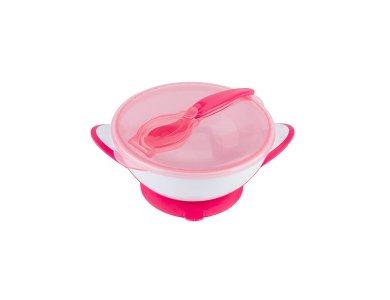 BabyOno Suction Bowl - Spoon, Τάπερ αποθήκευσης και μεταφοράς με κουτάλι, Ρόζ