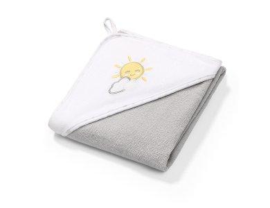 BabyOno Terry Hooded Towel, Πετσέτα με Κουκούλα, Γκρί