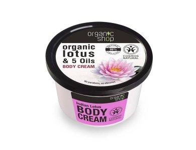 Organic Shop Indian Lotus Body Cream, Κρέμα Σώματος Λωτός & 5 Έλαια, 250ml