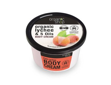 Organic Shop Pink Lychee Body Cream, Βιολογικό Λίτσι & 5 Έλαια, Κρέμα Σώματος, 250ml