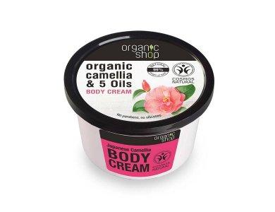 Organic shop  Japanese Camellia Body Cream, Βιολογική Καμέλια & 5 Έλαια, Κρέμα Σώματος, 250ml