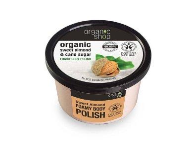 Organic Shop Body polish Sweet Almond, Αφρώδες  Scrub σώματος,  Γλυκό Αμύγδαλο & Ζάχαρη Ζαχαροκάλαμου, 250ml