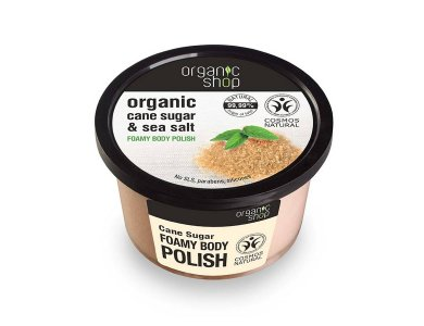 Organic Shop Foamy Body Polish Cane Sugar, Αφρώδες Scrub Σώματος , Ζάχαρη Ζαχαροκάλαμου & Θαλασσινό Αλάτι, 250ml