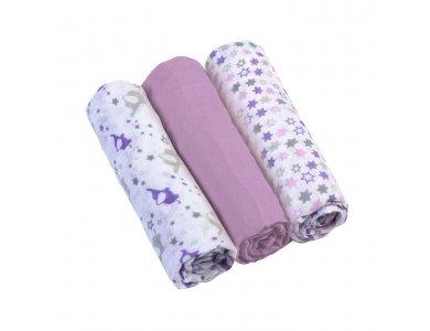 BabyOno Muslin Diapers Super Soft, Σετ 3 απαλές πάνες αγκαλιάς Βαμβακερές, Μώβ