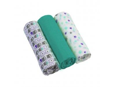 BabyOno Muslin Diapers Super Soft, Σετ 3 απαλές πάνες αγκαλιάς Βαμβακερές, Πετρόλ