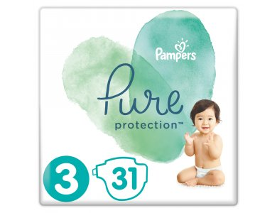 Pampers Pure Protection No.3 (6-10kg) Πάνες, 31τμχ