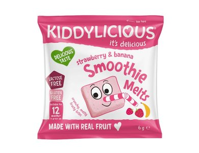 Kiddylicious Strawberry And Banana Smoothie Melts 12m+, Σμούθι Με Φράουλα & Μπανάνα, 6gr