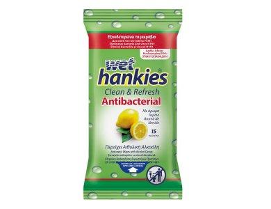 Wet Hankies Clean & Refresh Antibacterial Lemon Υγρά Αντιβακτηριδιακά Μαντηλάκια Με Άρωμα Λεμόνι, 15τμχ (1+1 Δωρο)
