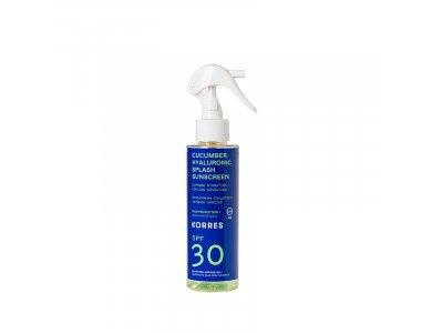 Korres Cucumber & Hyaluronic Splash Sunscreen SPF30, Αντηλιακό Αγγούρι και Υαλουρονικό με Υψηλή Προστασία για Πρόσωπο και Σώμα 150ml