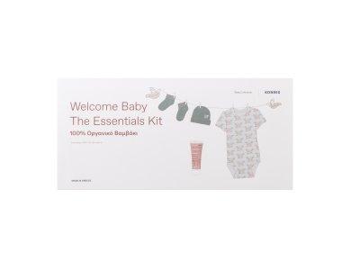 Korres Welcome Baby the Essentials Kit, Κορμάκι & Καλτσάκια & Σκουφάκι + Βρεφικό Αφρόλουτρο-Σαμπουάν, 20ml
