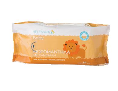 Helenvita Baby Wipes Mωρομάντηλα με εκχύλισμα χαμομηλιού, 64τμχ