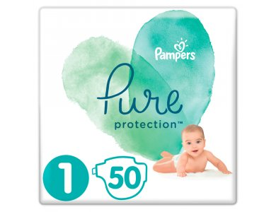 Pampers Pure Protection No.1 (2-5kg) Πάνες, 50τμχ