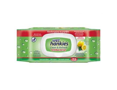 Wet Hankies Clean & Refresh Antibacterial Lemon Υγρά Αντιβακτηριδιακά Μαντηλάκια Με Άρωμα Λεμόνι, 72τμχ (1+1 Δωρο)