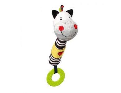 "BabyOno Squeaker Pony, Μαλακό παιχνίδι με ήχο και μασητικό, ""Ζέβρα"""