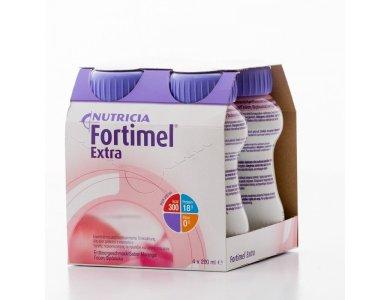 Nutricia Fortimel Extra Φράουλα Θρεπτικό Συμπλήρωμα Διατροφής σε Υγρή Μορφή Υψηλής Περιεκτικότητας σε Πρωτεϊνη, 4 x 200ml