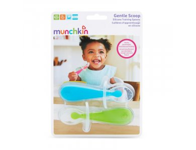 Munchkin Gentle Silicone Spoons, Εκπαιδευτικά Παιδικά Κουτάλια Σιλικόνης, 6m+, 2τμχ
