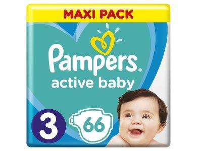 Pampers Active Baby Πάνες Maxi Pack Μέγεθος 3 (6-10 kg), 66τμχ