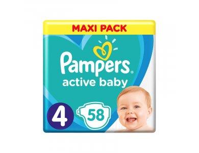 Pampers Active Baby Πάνες Maxi Pack Μέγεθος 4 (9-14 kg), 58τμχ