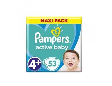 Pampers Active Baby Πάνες Maxi Pack Μέγεθος 4+ (10-15 kg), 53τμχ