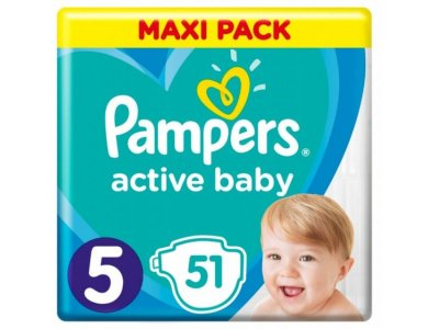 Pampers Active Baby Πάνες Maxi Pack Μέγεθος 5 (11-16 kg), 51τμχ