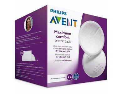 Philips Avent Επιθέματα στήθους μίας χρήσης ημέρας & νύχτας, 60 τμχ, SCF254/61