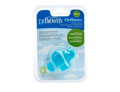 Dr. Brown's Orthees Transition Teether, Μασητικό σε σχήμα Πιπίλας Οδοντοφυΐας, Μπλέ, 3m+