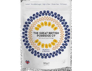 The Great British Porridge Co, Bag Blueberry & Banana, Νιφάδες Βρώμης με Γεύση Mύρτιλο & Μπανάνα, Χωρίς Γλουτένη, 385gr