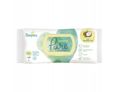 Pampers Coconut Pure Wipes Ενυδατικά Μωρομάντηλα με Έλαιο Καρύδας, 3x42 (126τμχ)