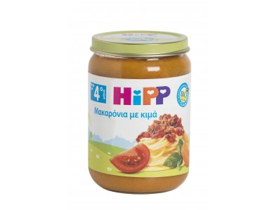 HiPP Bρεφικό γεύμα Mακαρόνια με Kιμά και Φρέσκια Ντομάτα απο τον 4ο μήνα - βαζακι 190gr