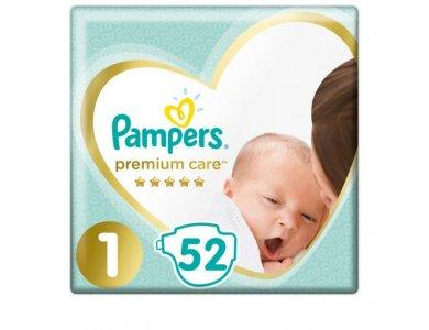 Pampers Premium Care Newborn No.1 (2-5kg) Βρεφικές Πάνες, 52τμχ