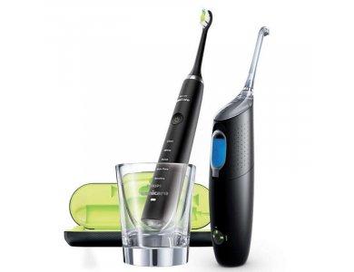 Philips Sonicare Promo με Diamond Clean Black Ηλεκτρική Οδοντόβουρτσα & AirFloss HX8494/03 Ultra Black Συσκευή για Μεσοδόντιο Καθαρισμό