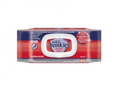 Wet Hankies Extra Safe Antibacterial Υγρά Αντιβακτηριδιακά Μαντηλάκια Χεριών - Κατά των Βακτηρίων, Ιών της Γρίπης & Κορωνοϊού, 63τμχ (1+1 Δωρο)