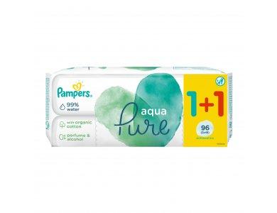 Pampers Aqua Pure Wipes, Μωρομάντηλα, 48τμχ 1+1 Δώρο