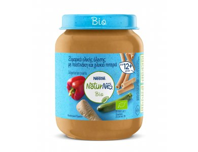 Nestle Naturnes Bio Βρεφικό γεύμα Ζυμαρικά Ολικής Αλεσης & Παστινάκι & Γλυκιά Πιπεριά 190gr