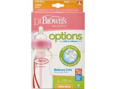 Dr. Brown's Promo Pack Options+, Πλαστικό Μπιμπερό, Φαρδύς Λαιμός, Χρώμα Ρόζ, 270ml, 2τμχ