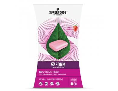 Superfoods S-Form Συμπλήρωμα Διατροφής για Απώλεια & Διαχείριση Βάρους με Γεύση Φράουλα, 30chew. tabs